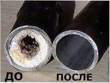 труба до и после гидродинамической прочистки