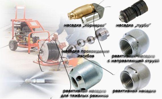 виды насадок для гидродинамической прочистке труб