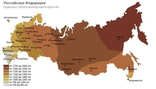 карта россии по промерзанию канализации