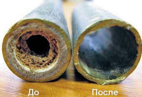 труба до и после прочистки