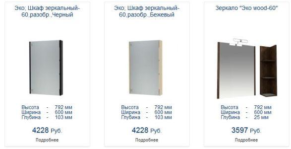 стоимость зеркальных шкафов