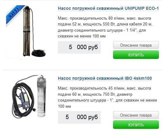 стоимость погружных насосов