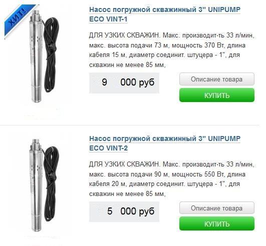 стоимость насосов юнипумп