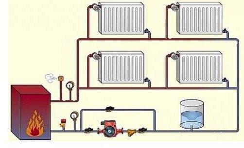 схема отопления с радиаторами