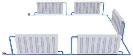 подсоединение радиаторов по периметру комнаты