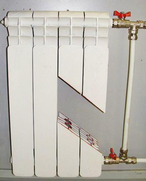 радиатор из алюминия в разрезе