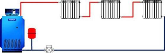 схема отопления с 3 радиаторами