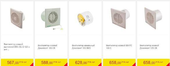 цена осевых вентиляторов