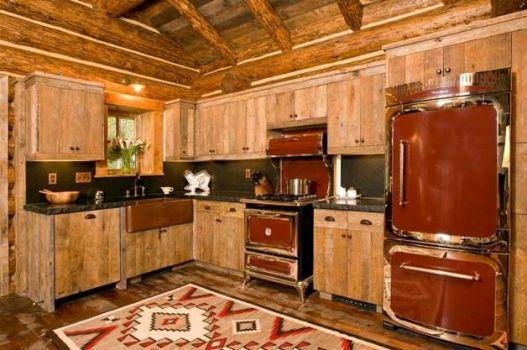 сочетание медной раковины с мебелью кухни