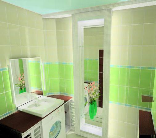 дизайн ванной с раковиной над стиралкой