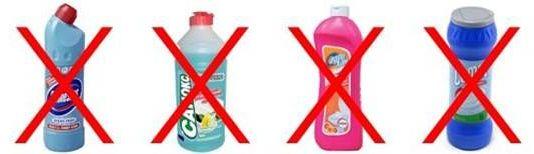 нельзя использовать чистящие средства