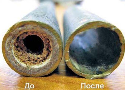 канализационная труба до и после прочистки