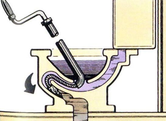 применение троса для прочистки унитаза