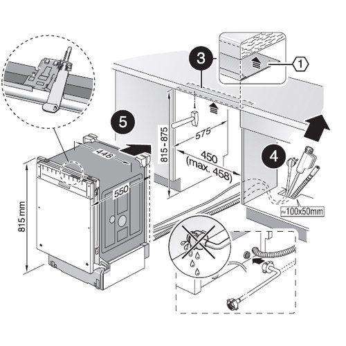 схема монтажа посудомоечной машины бош 45 см