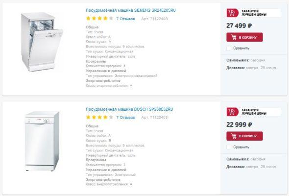 цена на посудомоечные машины бош и симменс