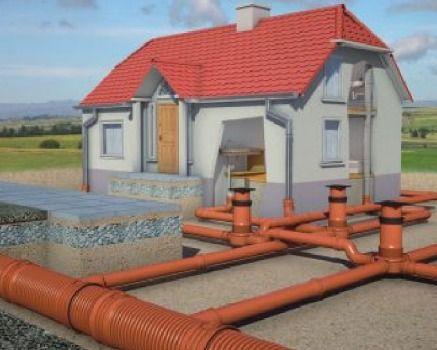 рыжие гофротрубы и гладкие для загородной канализации