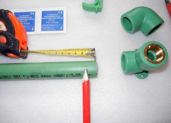 разметка пп трубы для соединения с муфтой
