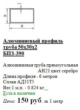 стоимость профиля из алюминия 50*30